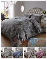 200TC Luxury Damask Printed Duvet Quilt Cover Bedding Set - Various Sizes