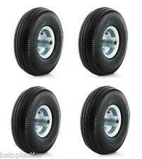 "4 Pack 10"" PU Sack Truck Wheel 4.10/3.50 - 4 OFFSET 16mm Bearing Metal Centre"