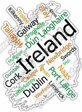 "Ireland Dublin Irish Country Map Word Cloud Bumper Vinyl Sticker Decal 4""X5"""