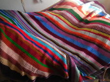 "Afghan/Bed Throw Coat of Many Colors Knitted Handcrafted Large 90"" x 96"""