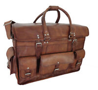 "Large 22"" Vintage Leather Briefcase Duffle Bag Traveling Luggage Messenger Bags"