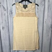 Anthropologie James Coviello Linen Tunic Top Size Small Sleeveless Fringe Beige