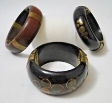 SET OF 3 BRACELETS WOOD 1960 VINTAGE MARQUETRY BRASS 186 GRAMS B2004