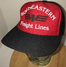 Vintage SOUTHEASTERN FREIGHT LINES 80s USA Red Black Trucker Hat Cap Snapback
