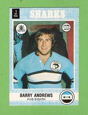 1977 SCANLENS RUGBY LEAGUE  CARD   #3  BARRY  ANDREWS, CRONULLA  SHARKS