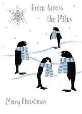 À travers le Miles Carte de Noël avec pingouins paillettes fini de Noël Cartes