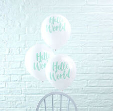 Hello World Baby Shower Tableware Gender Reveal Decorations Naming Ginger Ray 10 Balloons