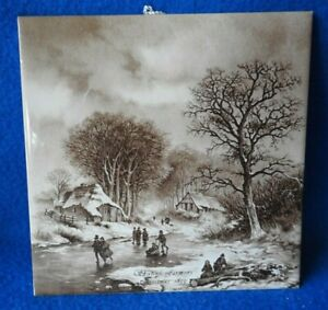 Royal Mosa Delft Hand Painted Skating Farmers Christmas 1855 Tile Holland