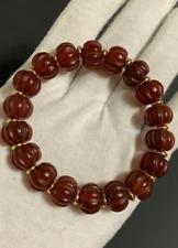 Old Tibetan Red Agate Melon / Pumpkin Beads Bracelet 14mm