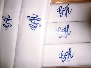 Herrentaschentücher weiß ,6x im Set,mit Monogramm-Bestickung