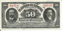 Mexico, Revolution, 50 Centavos, 1915, Serie G, 1915  Sonora, Crisp Unc # 75