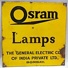 OSRAM LAMP BULB ADVERTISE SIGN GENERAL ELECTRIC COMPANY VINTAGE PORCELAIN ENAMEL