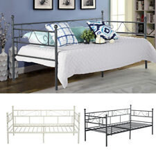 Metal Bed Frame Day Bed with Trundle Single Double Sofa Guest Bed Black/White