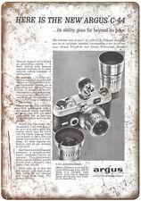 """1958 - Argus C-44 Film Camera - 10"""" x 7"""" Retro Look Metal Sign"""