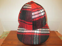 RED AND BLACK PLAID TRAPPER HAT OR BASEBALL CAP HAT FROM HOT TOPIC