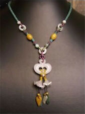 to do Beaded Chain Jadeite Jade Leaf Two Orchid Flower Dangle Heart Necklace