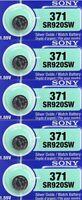 5 Batteries Watch Sony 371 Silver AG6 Sr920 SR69 SR92 V371 D371 LR921 L920 GP371