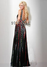STEP OUT IN STYLE! BLACK BEADED FORMAL/EVENING/PROM DRESS; COLOR STRIPE AU10/US8