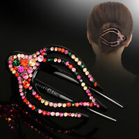 Women's Crystal Flower Barrette Hair Clips Clamp Hairpin Barrette Accessories