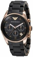 Authentic Emporio Armani AR5906 Sportivo Black Dial Women's Chronograph Watch