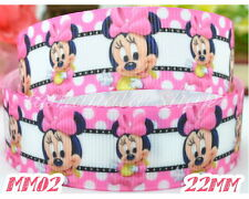 "5 yards DISNEY MICKEY MINNIE MOUSE 22mm  7/8"" Grosgrain Ribbon Craft MM02"