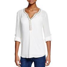 Daniel Rainn 7250 Womens Ivory Beaded Henley Pullover Top Shirt XL BHFO