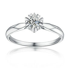 0.33ct Moissanite 4.5mm Round Gemstone Wedding Ladys Ring Solid 18k White Gold