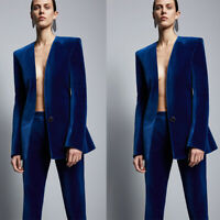 Royal Blue Velvet Jacket+Pants Dinner Proms Party Tuxedos Ladies Business Suit