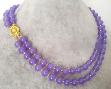 """Fashion 2Rows 8mm Natural Lavender Jade Gemstone Round Beads Necklace 16""""-18"""" AA"""