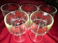 "5 Vintage SCHLITZ BEER Pint Glass Goblet Thumbprint Mug 16oz 6"" Tall Red LOGO"