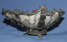 Vintage hand made ornate seashell footed bowl with metal facing