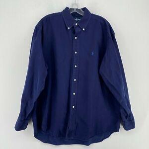 VINTAGE Ralph Lauren Polo Button Up Shirt Mens Large Blue Silk Blend Long Sleeve
