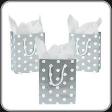 12 Small Polka Dot Gift Bags~Silver~White~ Wedding~ Party Favors~Anniversary