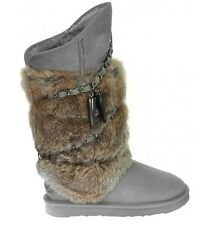 AUSTRALIA LUXE COLLECTIVE WOMEN'S GRAY ATILLA RABBIT FUR SHEEPSKIN WRAP BOOTS