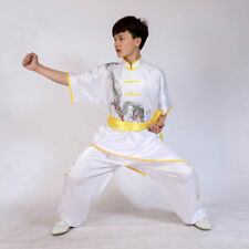 White Silk Kung Fu Tai Chi Uniform Martial Arts Suit Kid Adult Dragon Embroidery