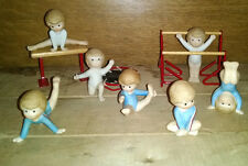 Lot 7 Vtg Country Cousins Enesco Figurines -Gymnastics Bars Beam Trampoline RARE