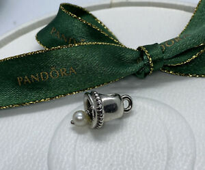 Pandora Silver Hanging Dangle Pearl Wedding Bell Charm #790517P Authentic Ale