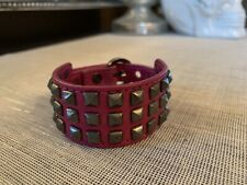 Rebecca Minkoff Pyramid Stud Leather Bracelet Pink
