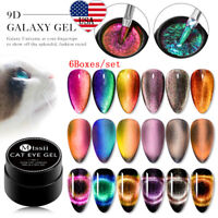 MTSSII 6Boxes/set 9D 5ml Magnetic Cat Eye Soak Off UV Nail Gel Polish Varnish US
