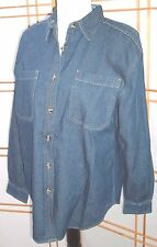 Bill Blass Womens long sleeve denim shirt size S oversized grunge