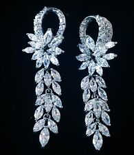 EARRING using Swarovski Crystal Dangle Drop Wedding Bridal Rhodium Silver CZ10