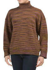 M Missoni Women's Sweater Medium Oversized Wool Striped Turtleneck Pullover
