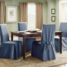 Sure Fit long Duck cotton dining chair  washable slipcover NEW