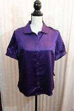 East5th Womens Blouse Deep Purple Silky Size 12 Button Up NWT