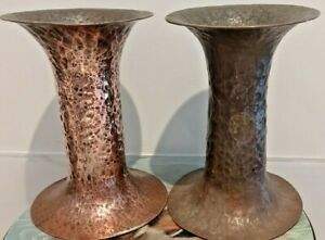 """Pair Stunning hand hammered Arts & Crafts Copper Vases Pewter ? Spill 6.25"""" tall"""