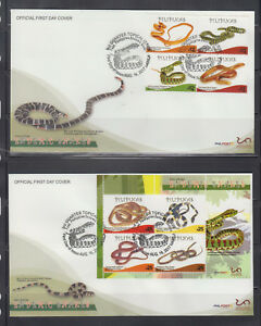 Philippine Stamps 2017 Endemic Philippine Snakes complete on FDCs