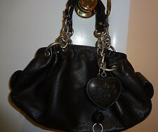 Juicy Couture 100% Leather Black Handbag Purse with Key Chain & Mirror