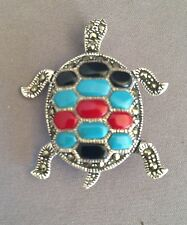 Marcasite Turtle Pin Brooch with Inlay Genuine .925 Sterling Silver