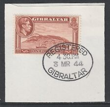 Gibraltar 5366 - 1938 KG6 1d P13 on piece with MADAME JOSEPH FORGED POSTMARK