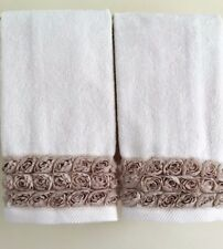 FRILLY ROSE Fingertip/Guest Towel set (2) IVORY Velour Cotton by UtaLace NEW